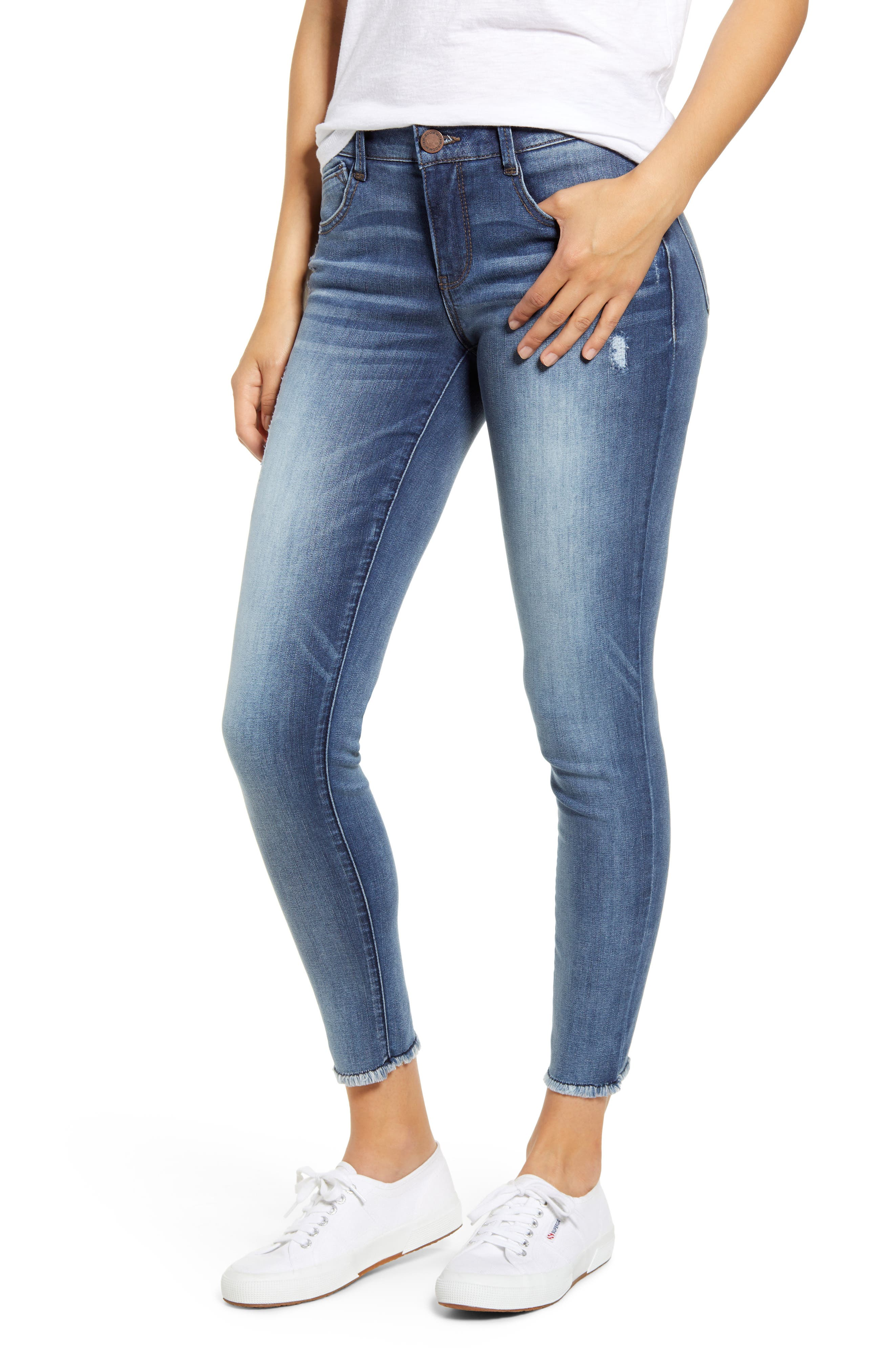 With a crazy-soft wash on these authentically faded, destruction-dashed jeans, you may have found the perfect pair. Style Name: Wit & Wisdom Luxe Touch Fray Hem Ankle Skinny Jeans (Nordstrom Exclusive). Style Number: 5833724. Available in stores.