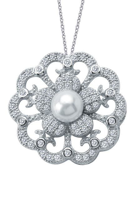 Image of LaFonn Platinum Plated Sterling Silver Simulated Diamond & Freshwater Pearl Pendant Necklace