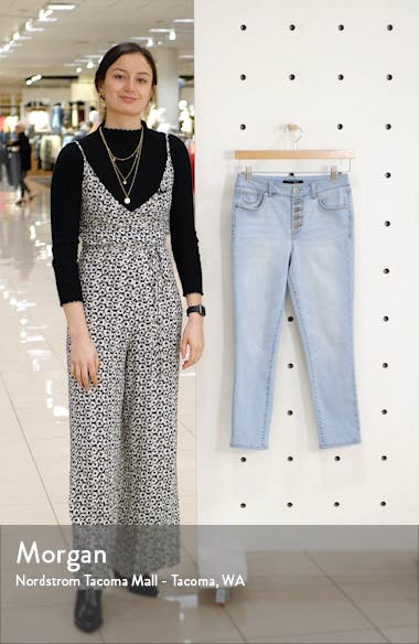 High Waist Button Fly Crop Skinny Jeans, sales video thumbnail