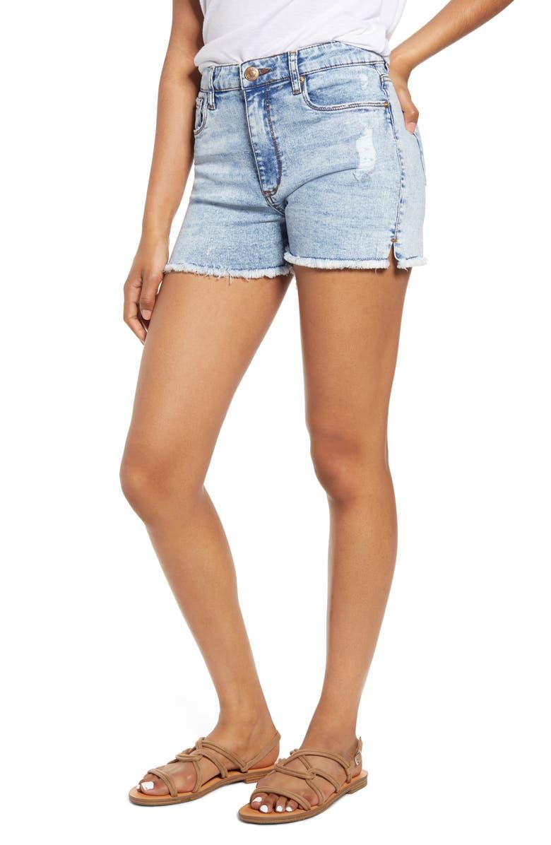 STS BLUE Aubrey Side Slit Distressed Denim Shorts, Main, color, 400