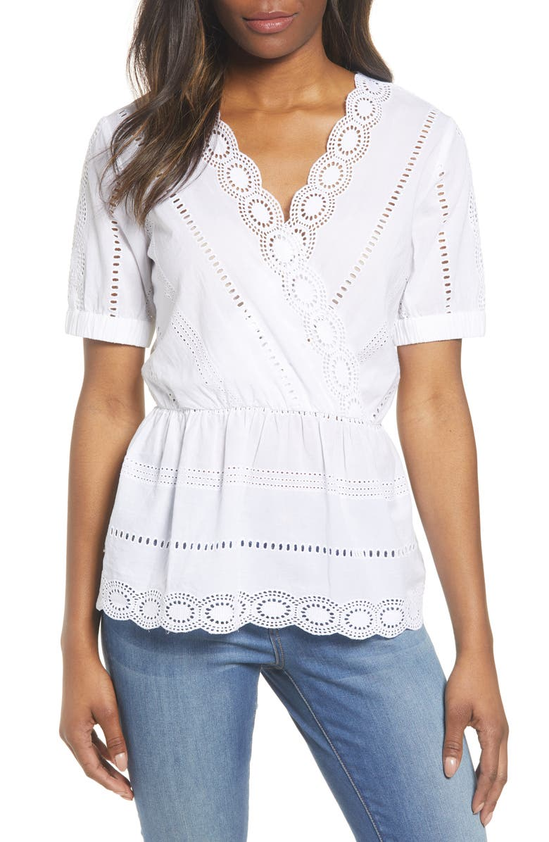 CASLON<SUP>®</SUP> Shiffley Blouse, Main, color, WHITE