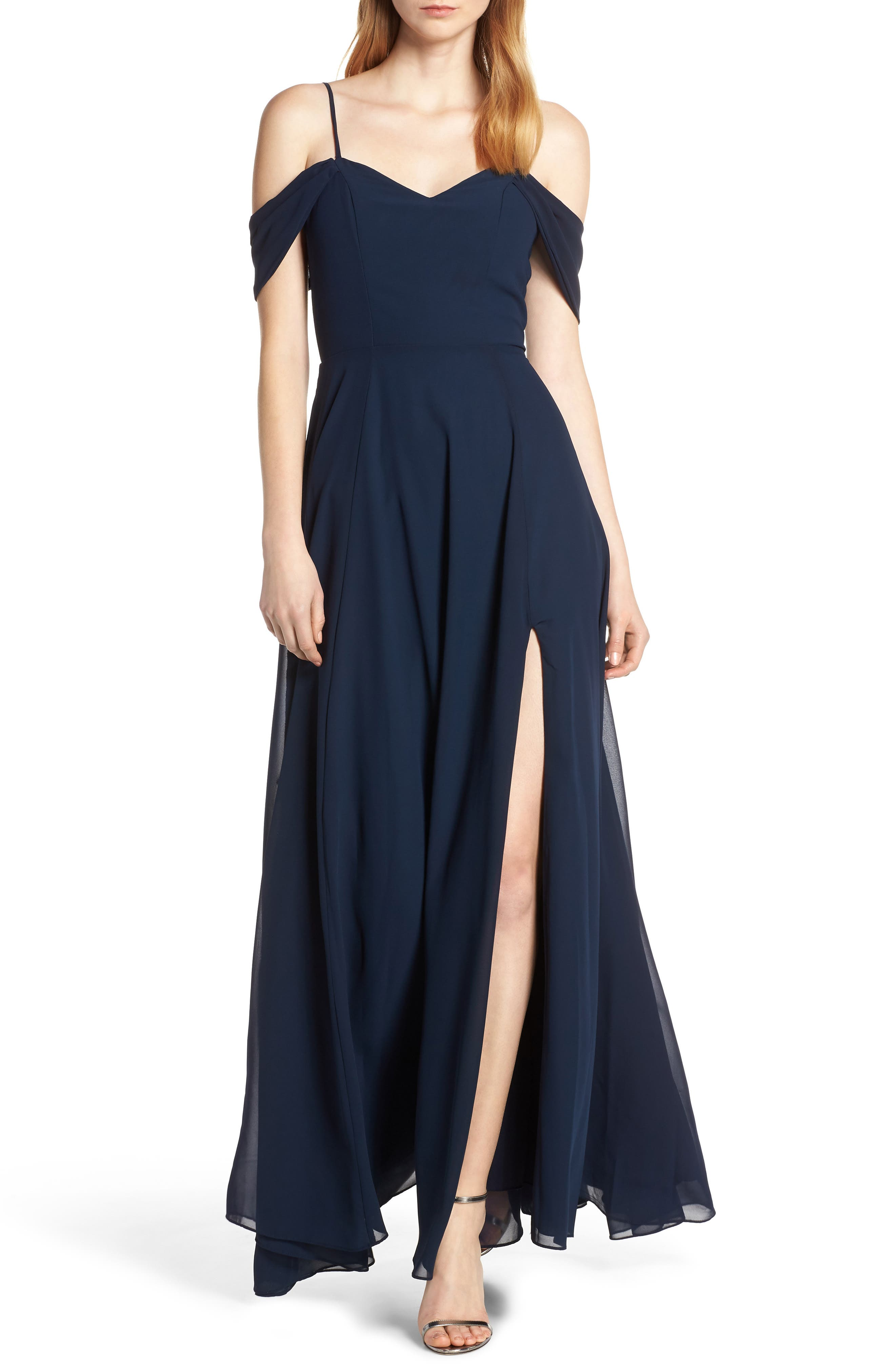 Sequin Hearts Cold Shoulder Lace-Up Back Evening Dress, Blue