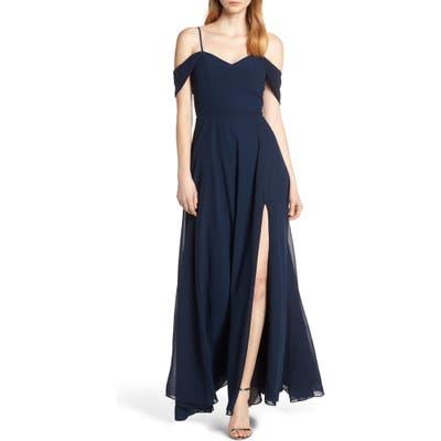 Sequin Hearts Cold Shoulder Lace-Up Back Evening Dress, Blue