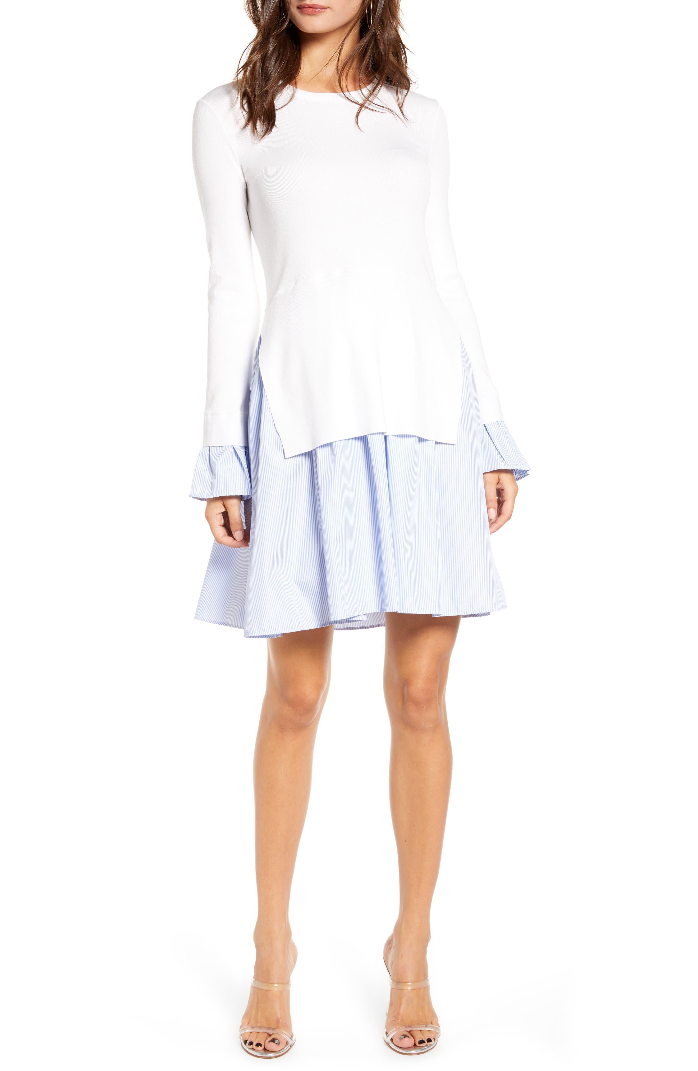 Combo Knit & Poplin Dress