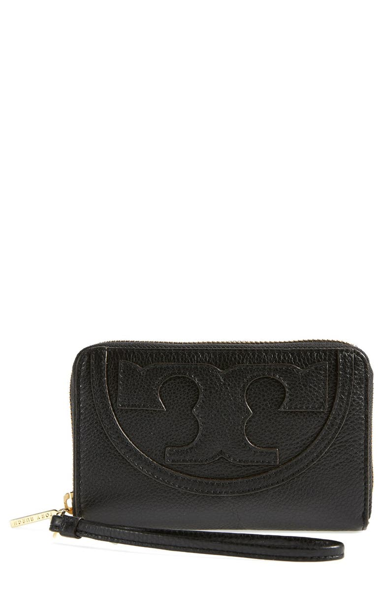 TORY BURCH 'All T' Leather Phone Wallet, Main, color, 001