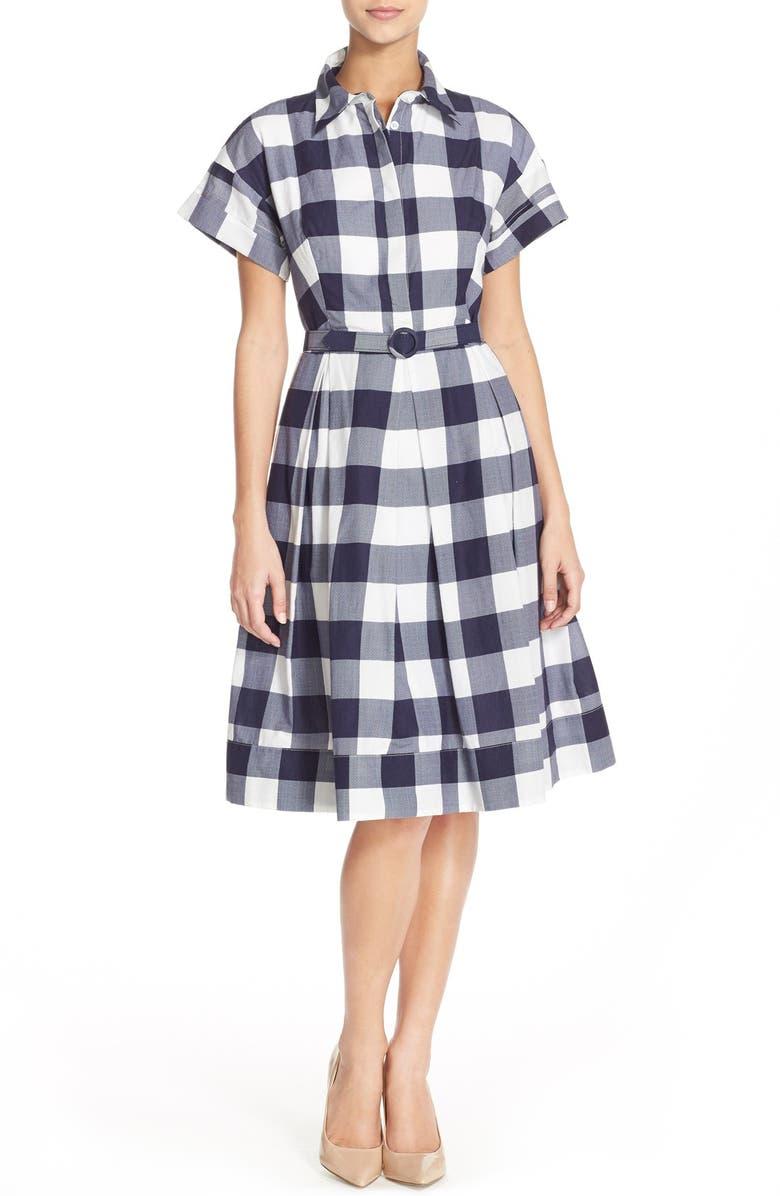 ELIZA J Woven Gingham Shirtdress, Main, color, 407