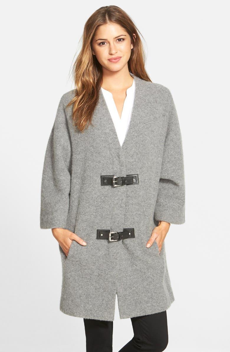 MICHAEL MICHAEL KORS Buckle Front Wool Sweater Coat, Main, color, 036