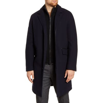 Cole Haan Wool Blend Overcoat With Knit Bib Inset, Blue