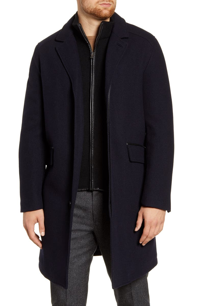 COLE HAAN Wool Blend Overcoat with Knit Bib Inset, Main, color, 410
