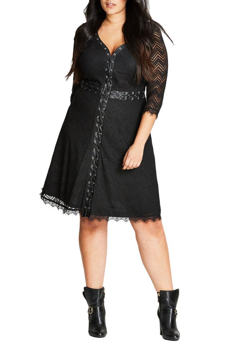 Gigi Luxe Faux Leather Trim Lace Dress