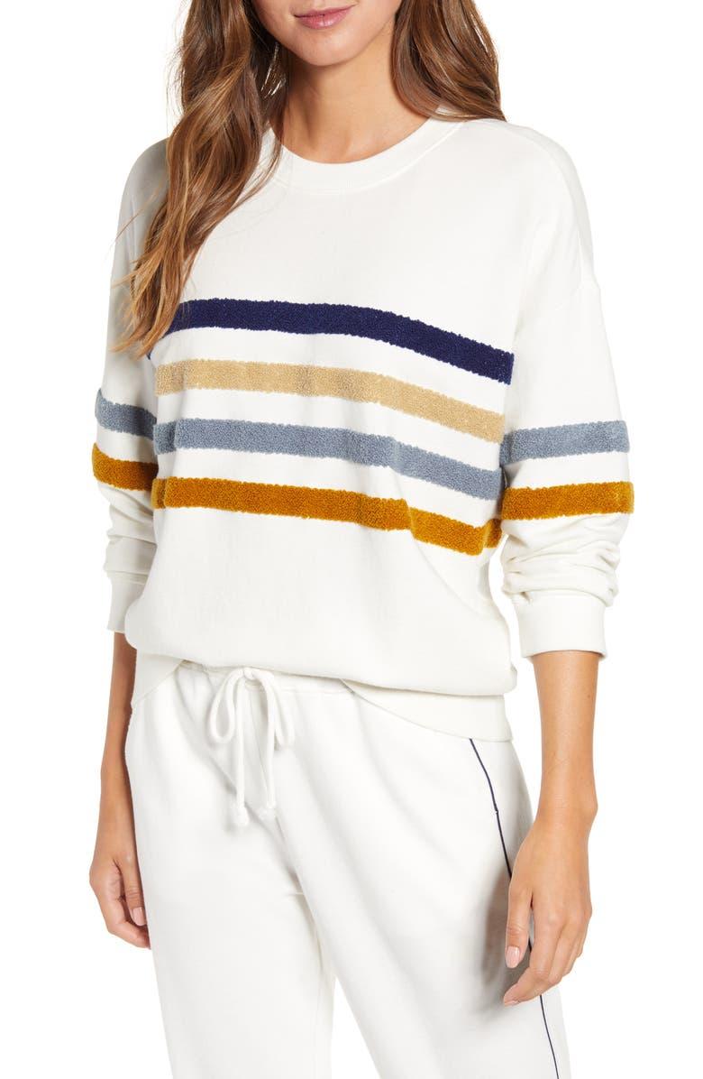 LOU & GREY Fuzzstripe Terry Sweatshirt, Main, color, MOONLIGHT IVORY