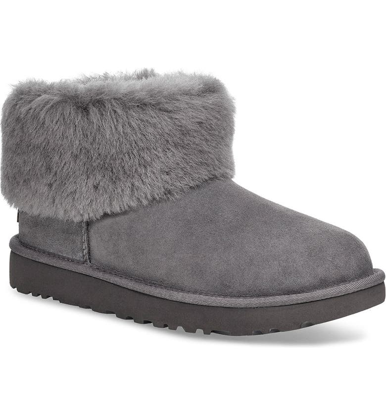 UGG<SUP>®</SUP> Classic Mini Fluff Genuine Shearling Bootie, Main, color, CHARCOAL