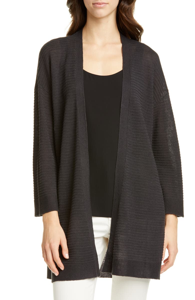 EILEEN FISHER Organic Cotton & Linen Blend Open Front Cardigan, Main, color, CHARCOAL