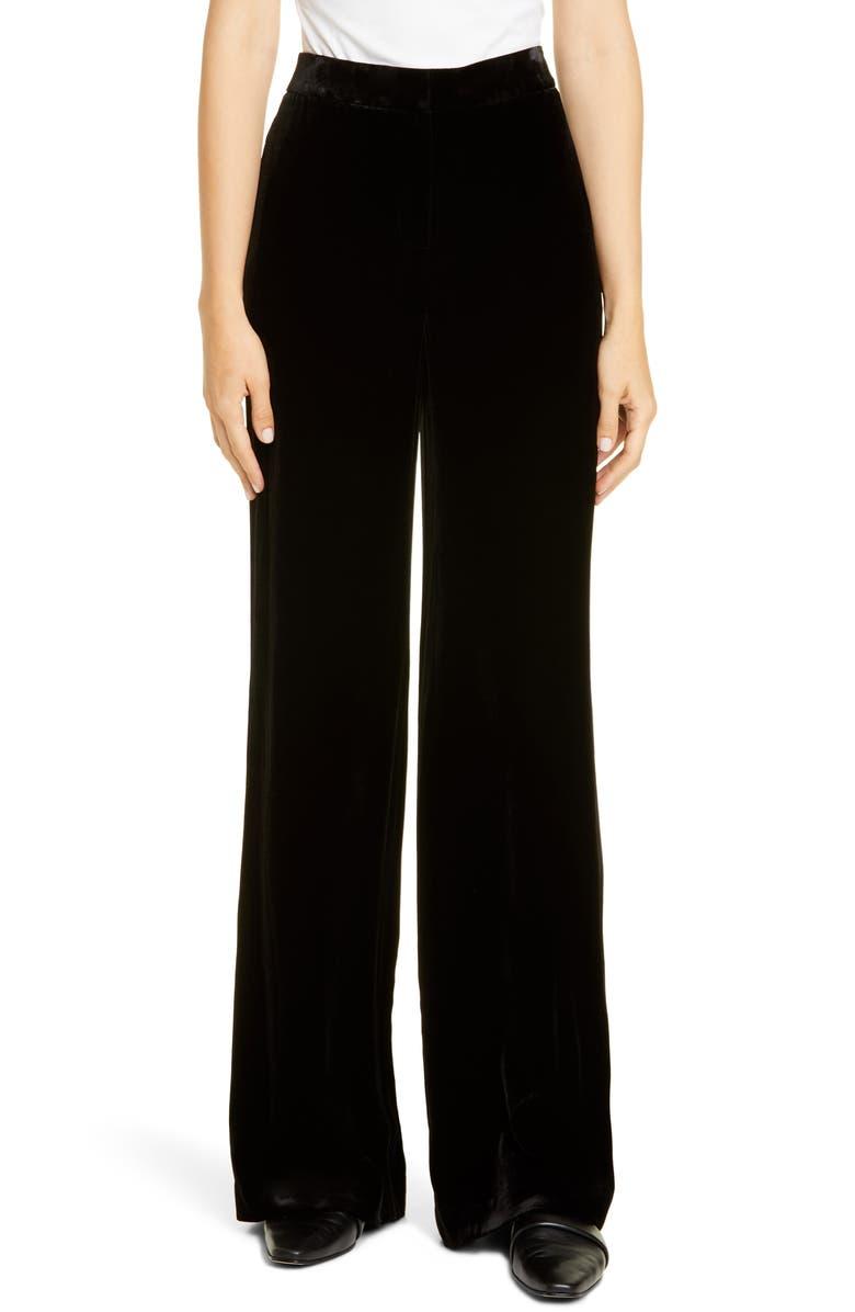 LAFAYETTE 148 NEW YORK Dalton Velvet Wide Leg Pants, Main, color, BLACK