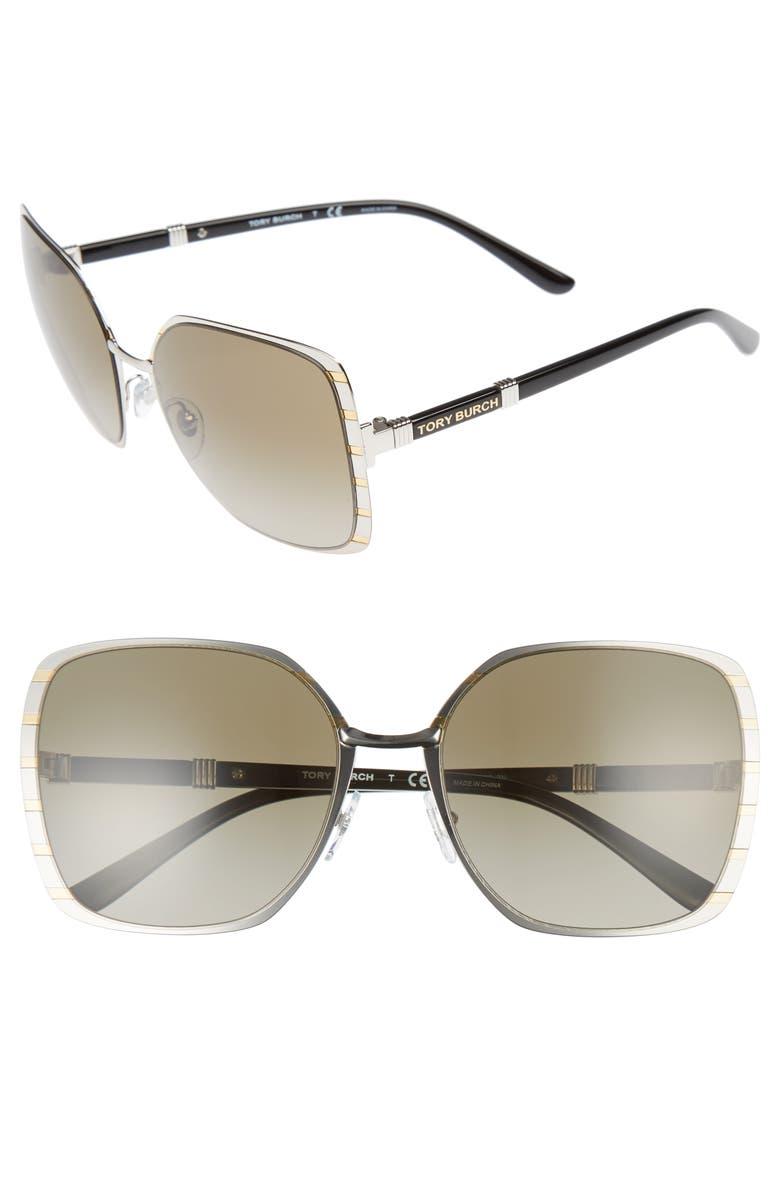 TORY BURCH 57mm Gradient Square Sunglasses, Main, color, 040