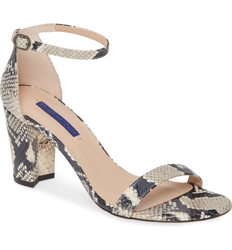 STUART WEITZMAN NearlyNude Ankle Strap Sandal, Main, color, ROCCIA PRNTD PYTHON