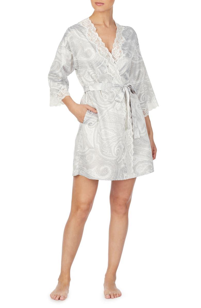 LAUREN RALPH LAUREN Lace Trim Short Robe, Main, color, 069