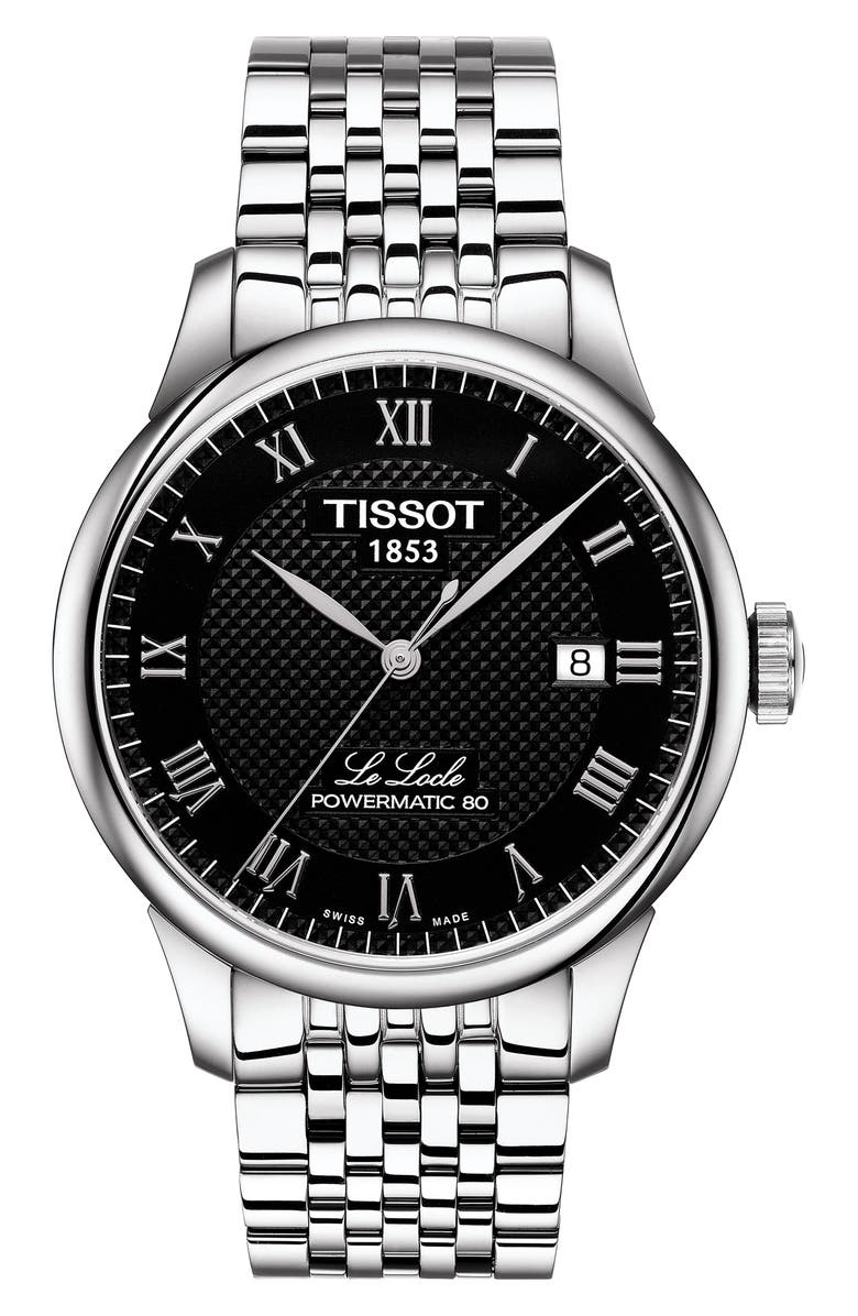 TISSOT Le Locle Bracelet Watch, 39mm, Main, color, SILVER/ BLACK/ SILVER