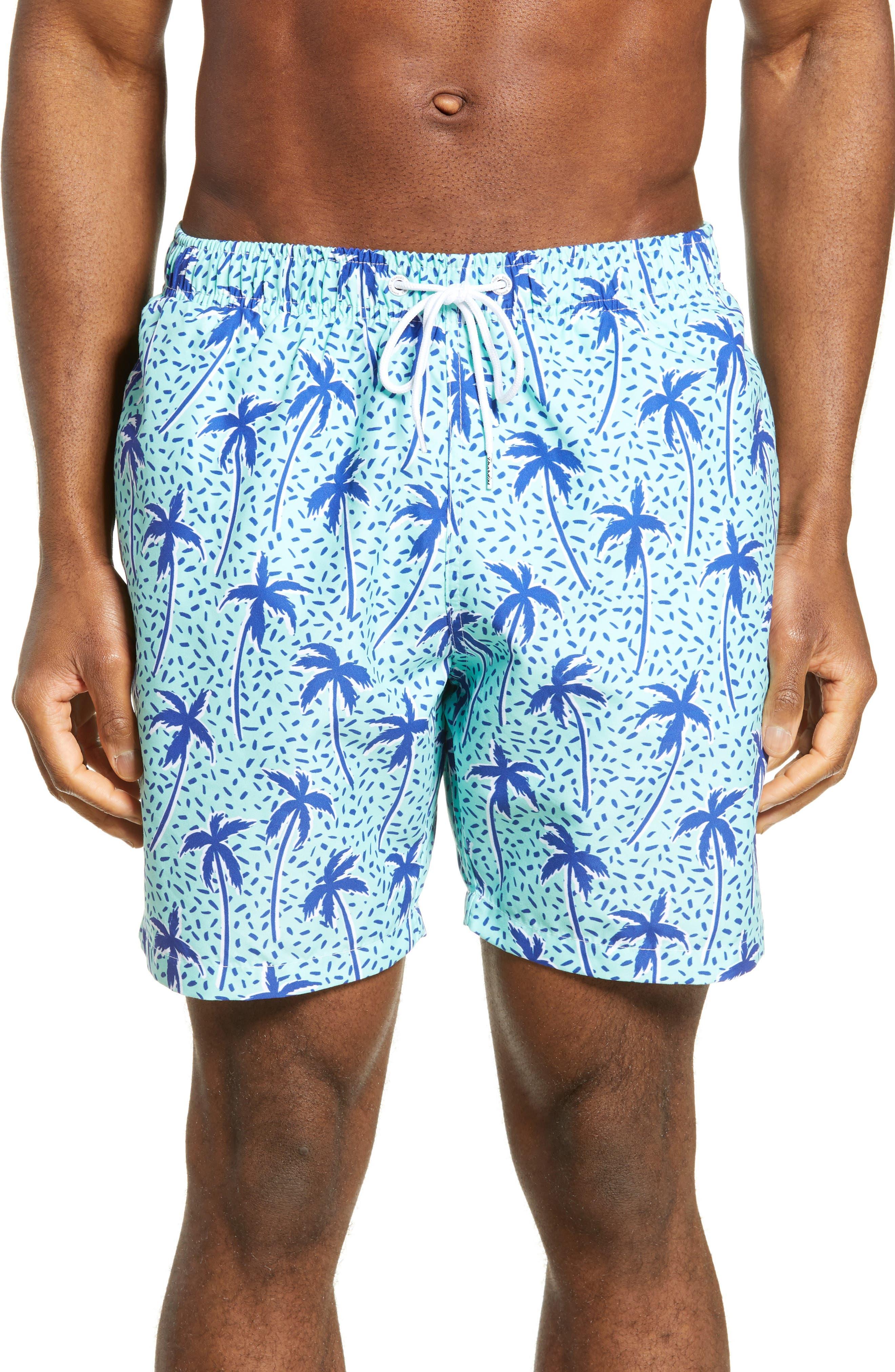 Boardies Flair Palm Print Swim Trunks, Blue/green