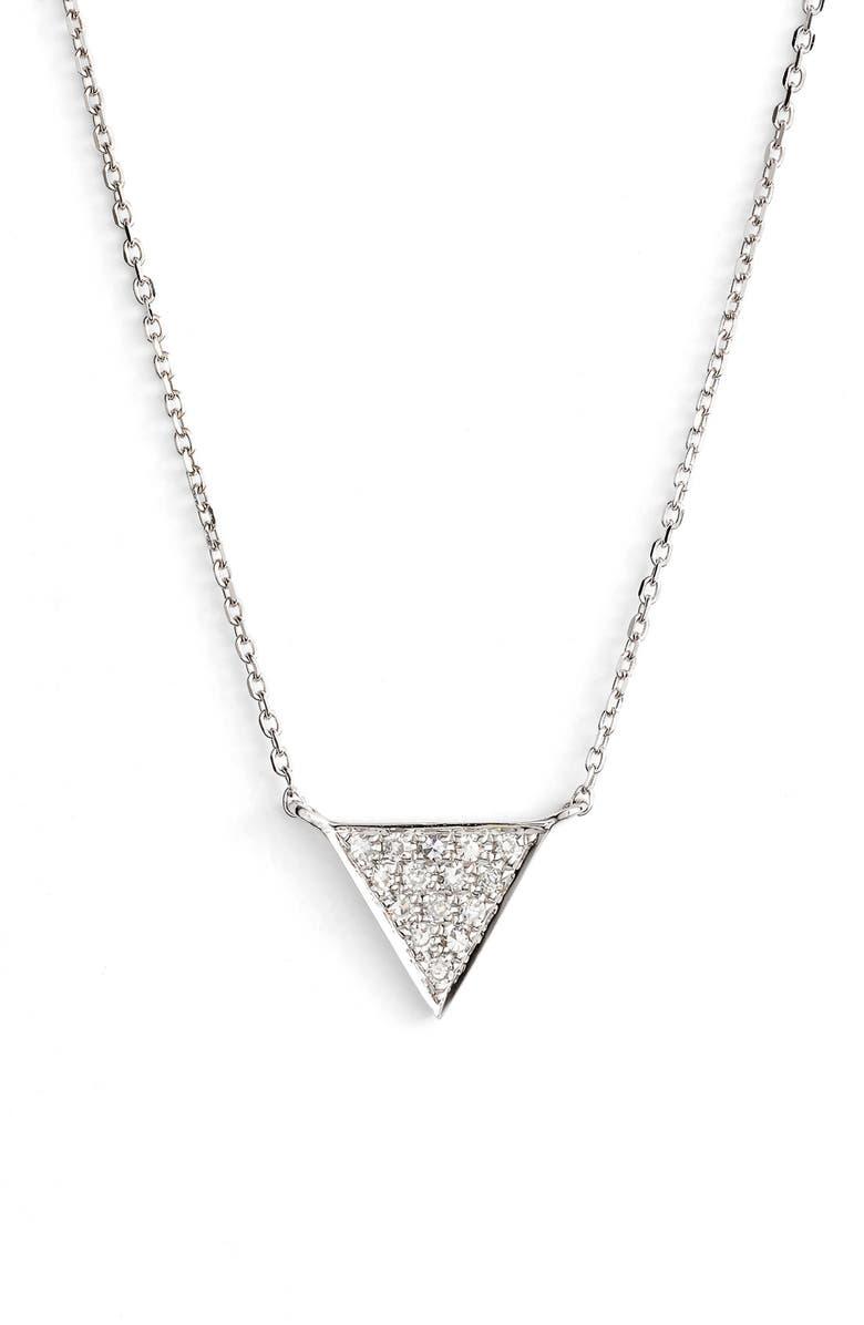 DANA REBECCA DESIGNS 'Emily Sarah' Diamond Triangle Pendant Necklace, Main, color, WHITE GOLD