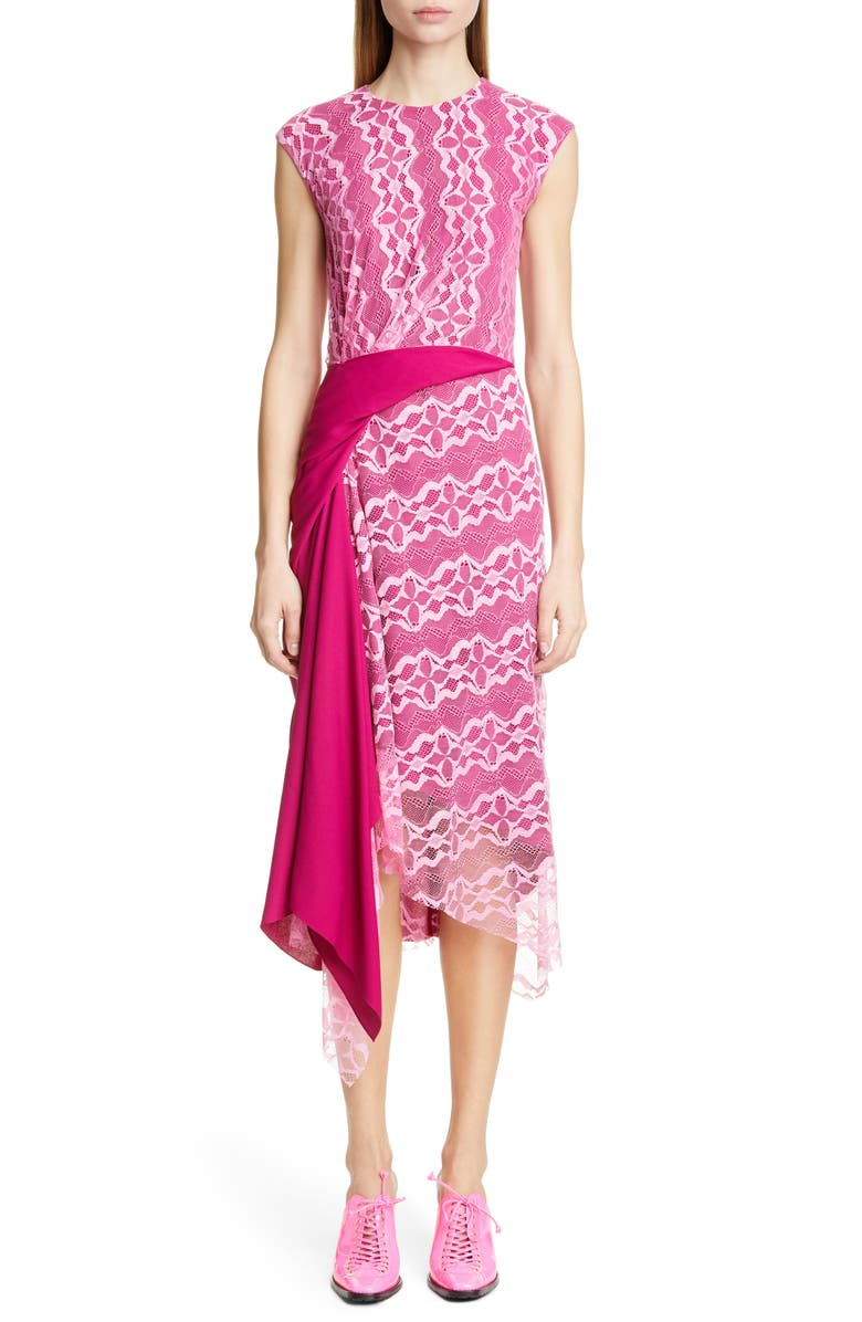 SIES MARJAN Gathered Contrast Panel Lace Dress, Main, color, FLUO PINK