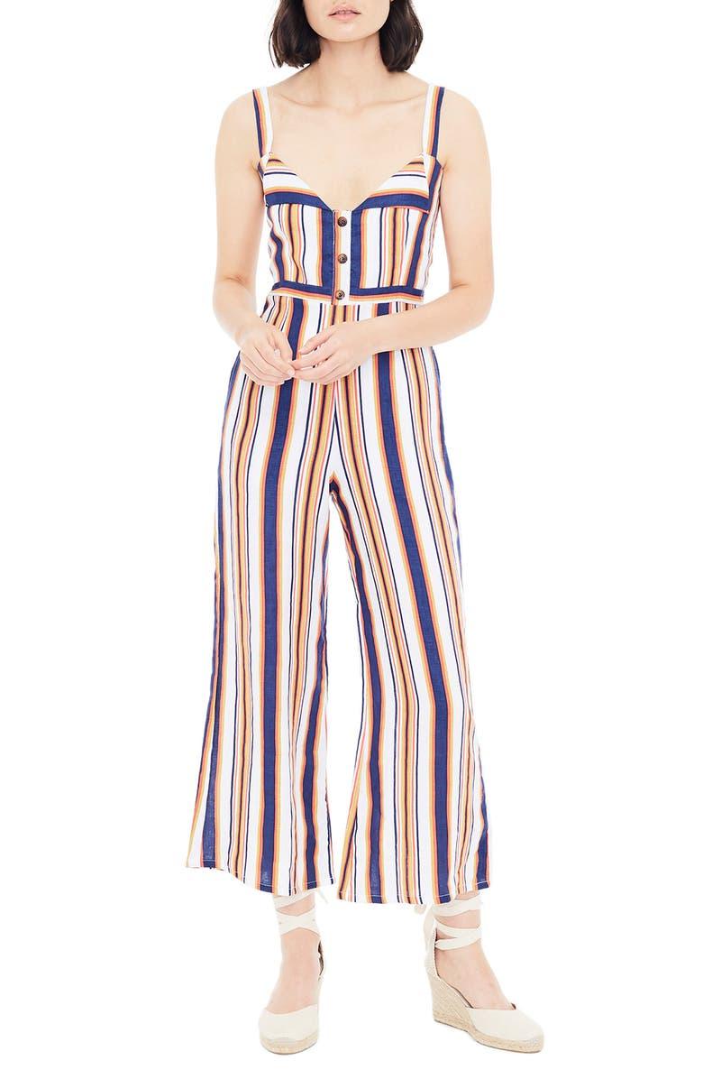 FAITHFULL THE BRAND Scout Stripe Sleeveless Linen Jumpsuit, Main, color, 401