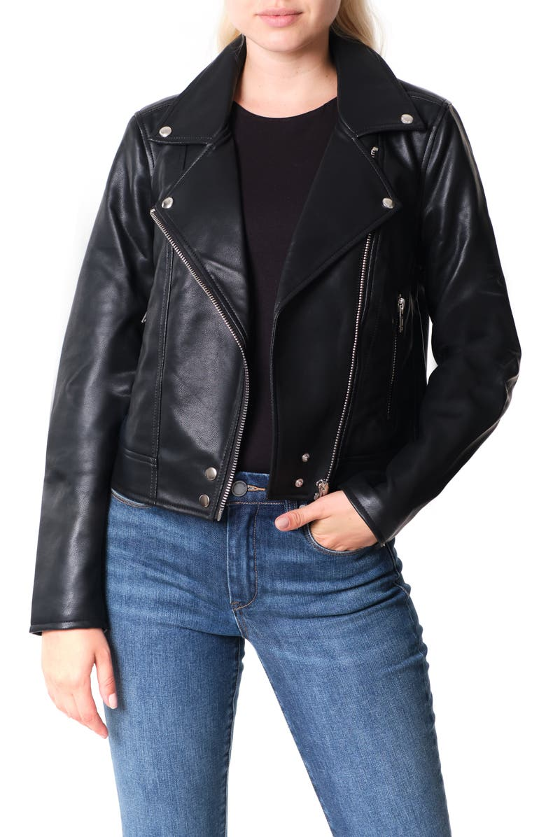 BLANKNYC Good Vibes Faux Leather Moto Jacket, Main, color, BLACK