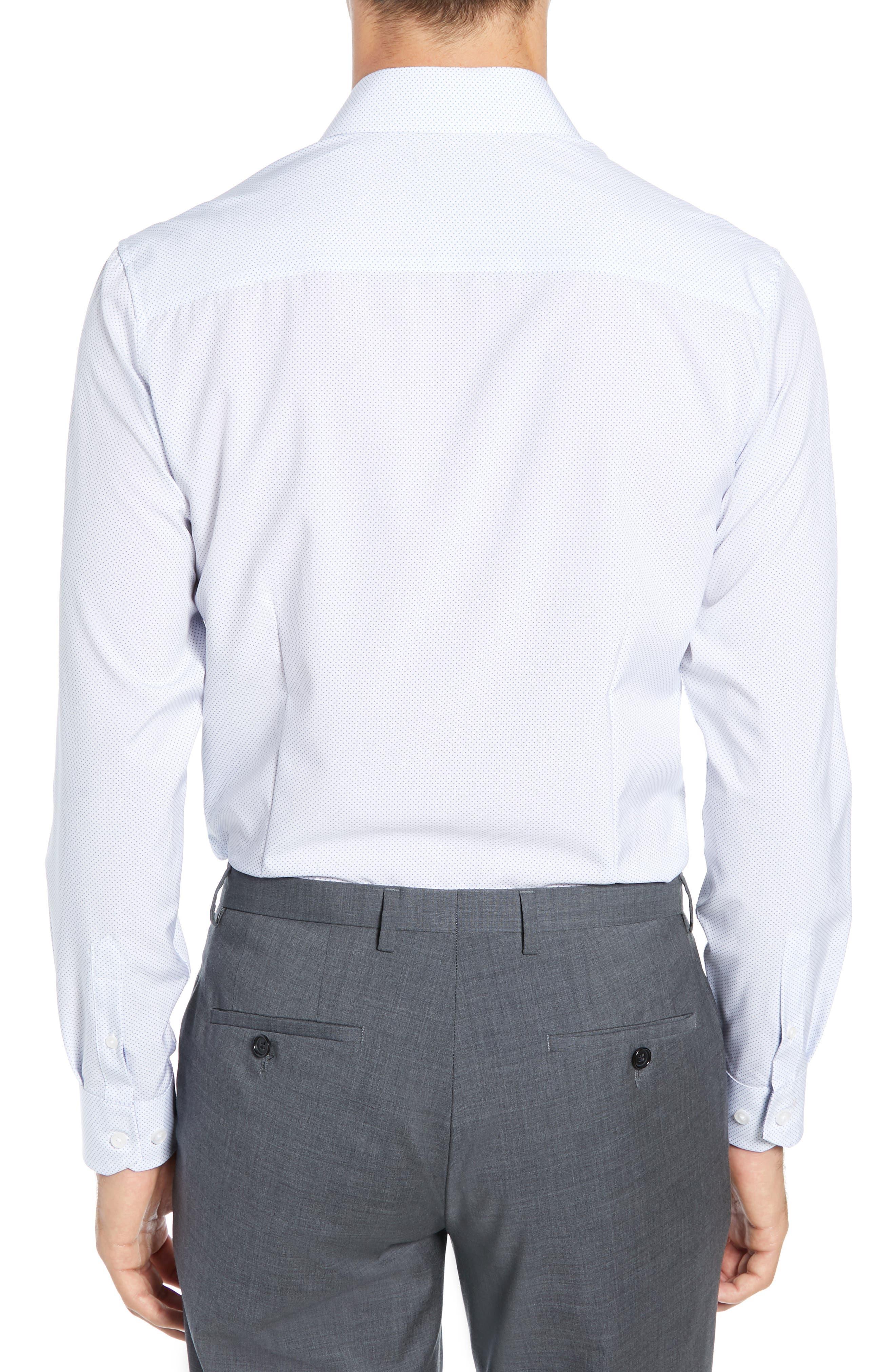 ,                             Slim Fit Performance Stretch Dot Dress Shirt,                             Alternate thumbnail 3, color,                             LIGHT BLUE