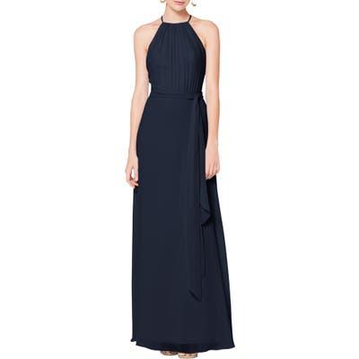 #levkoff Halter Neck Tie Detail Chiffon Gown, Blue