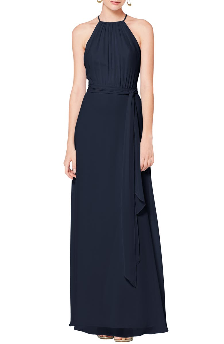 #LEVKOFF Halter Neck Tie Detail Chiffon Gown, Main, color, NAVY