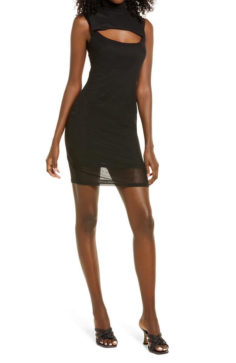 AFRM Maci Mock Neck Sleeveless Dress, Main, color, NOIR