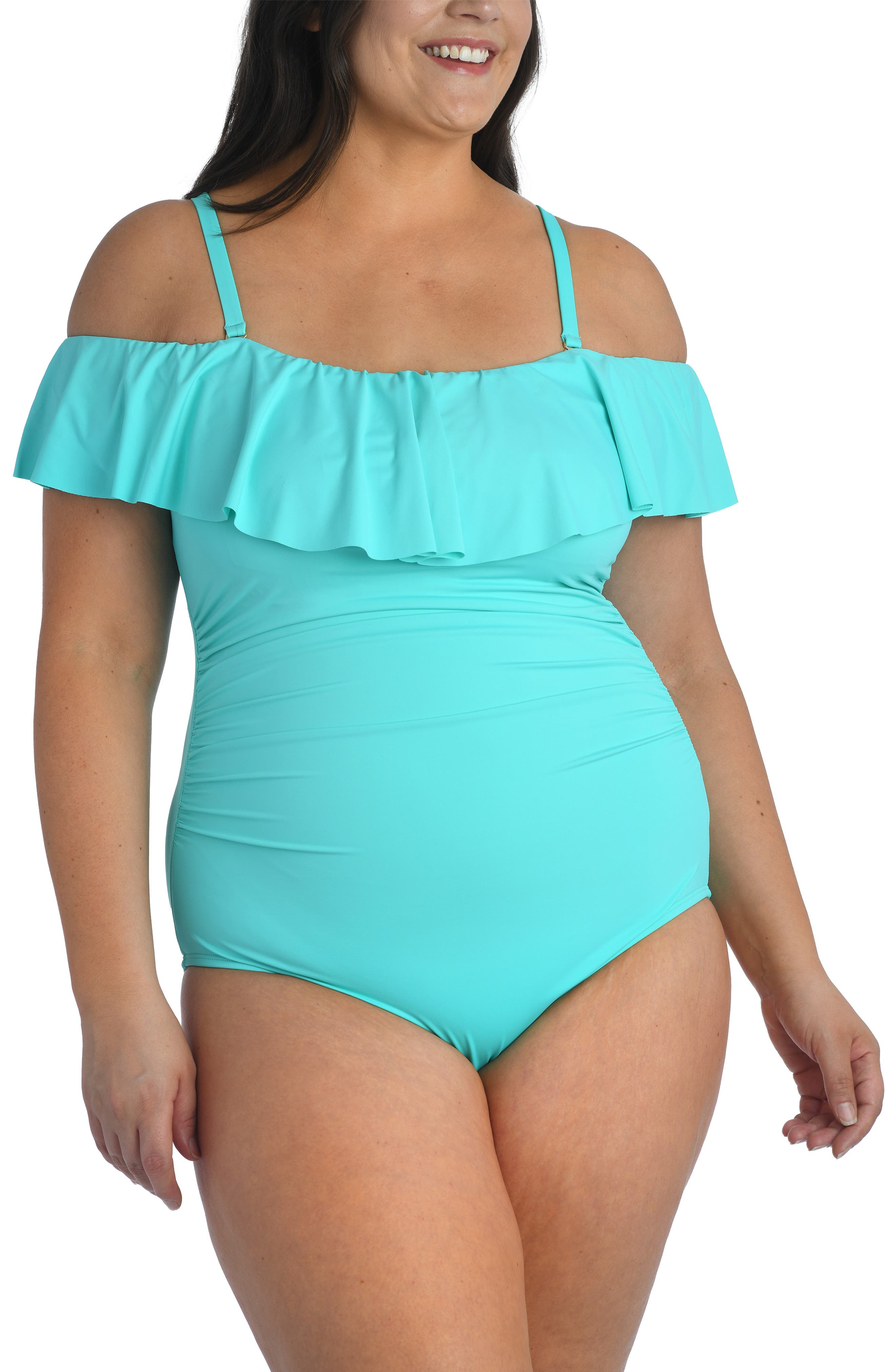 1950s Style Clothing & Fashion Plus Size Womens La Blanca Off The Shoulder One-Piece Swimsuit Size 20W - Bluegreen $124.00 AT vintagedancer.com