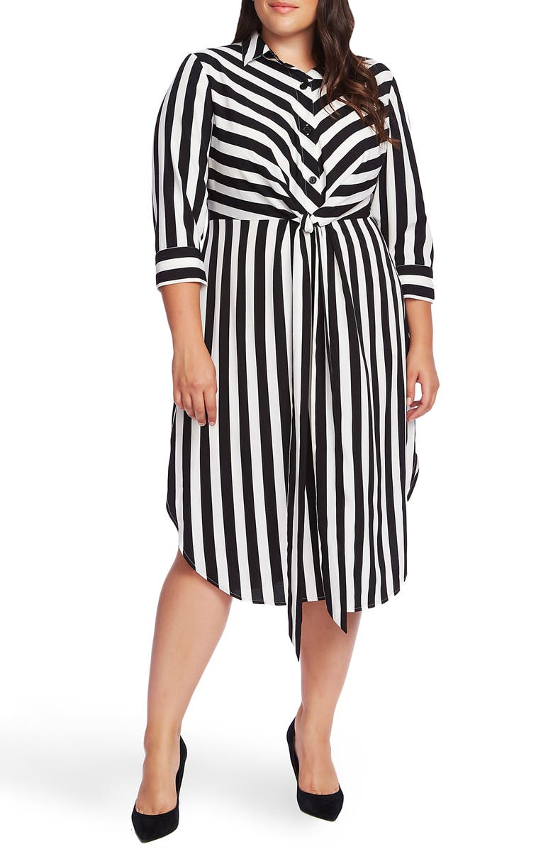 VINCE CAMUTO Stripe Shirtdress, Main, color, RICH BLACK