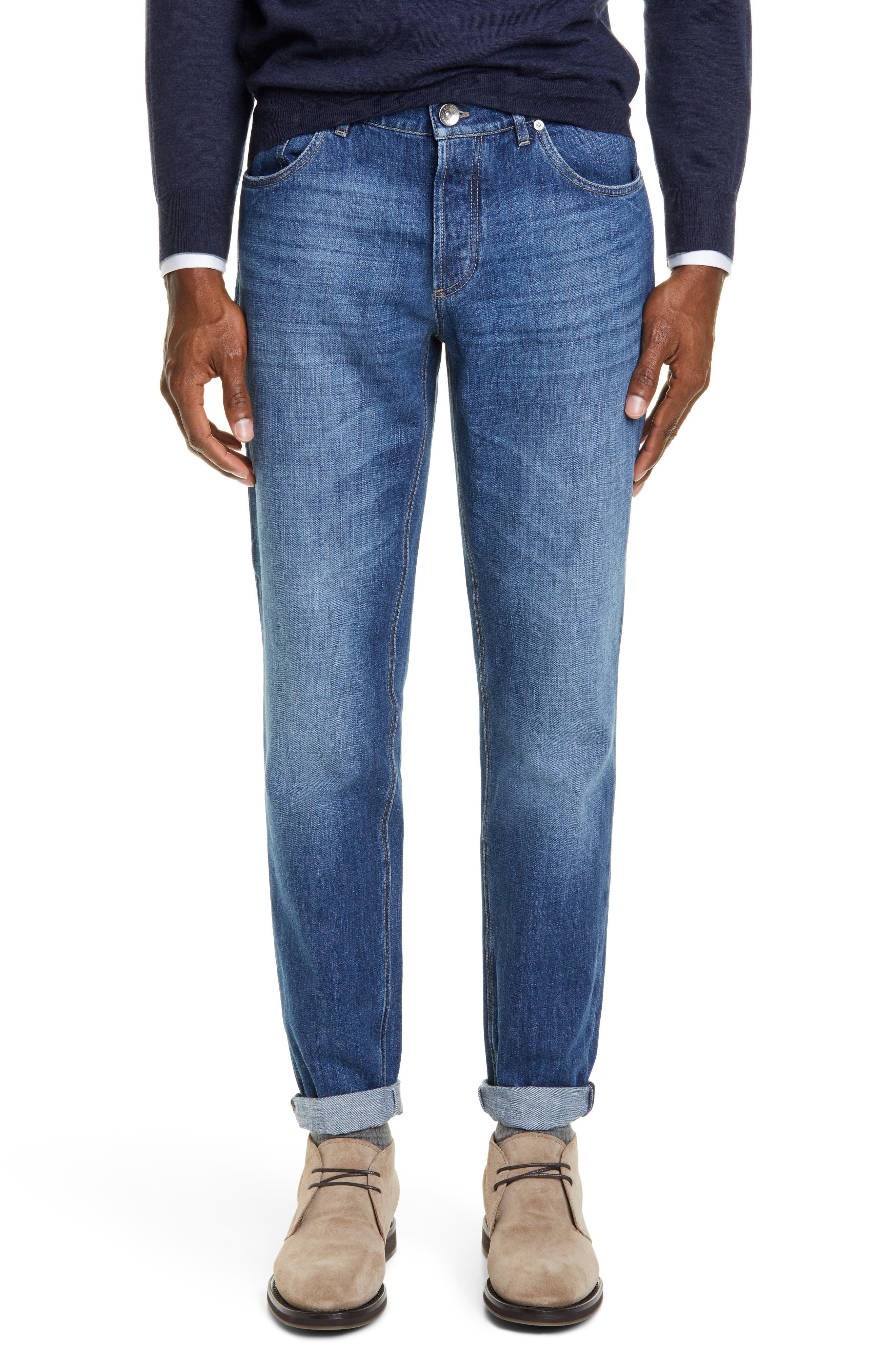 Men's Brunello Cucinelli Traditional Fit Jeans,  50 EU - Blue