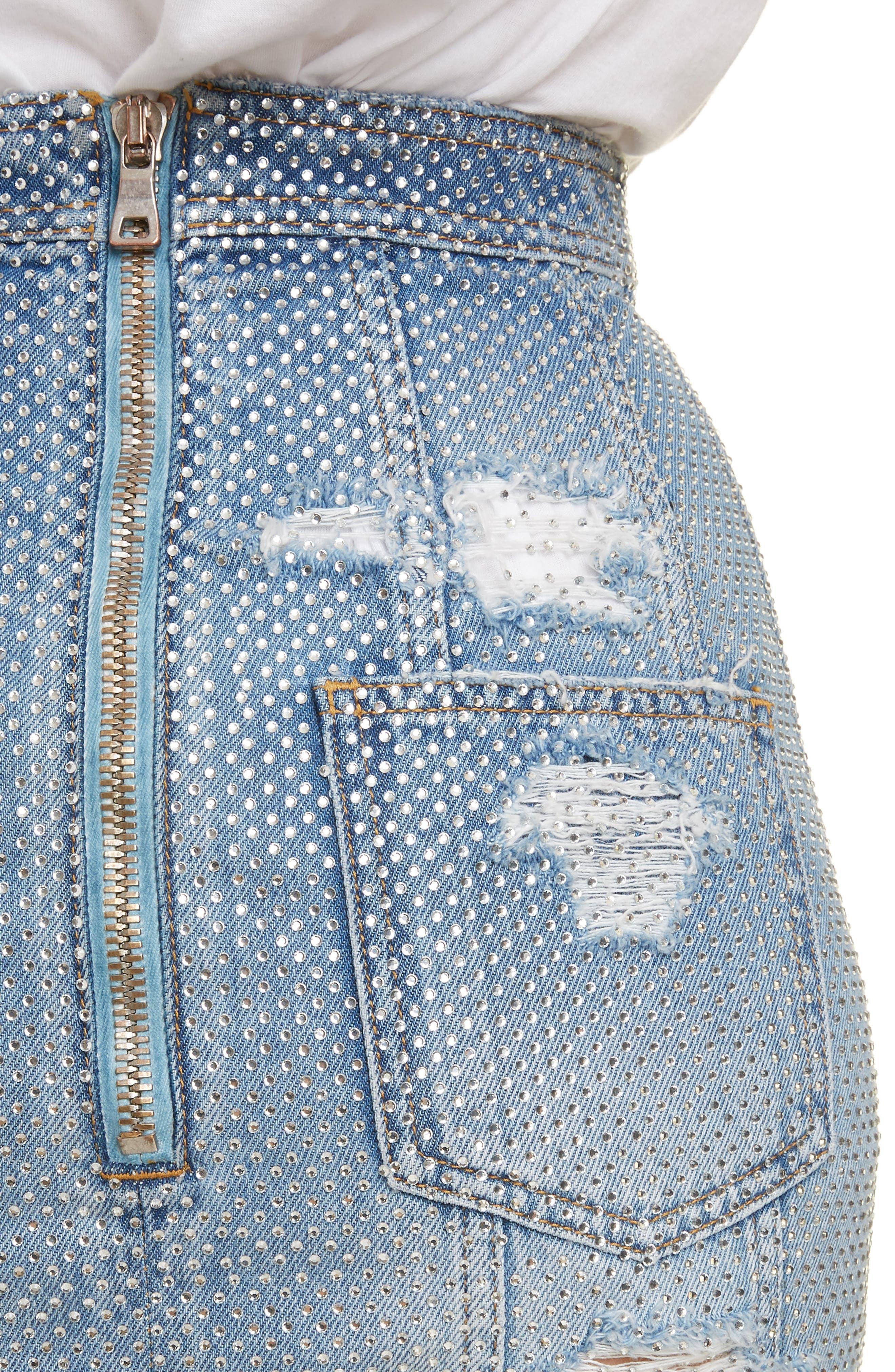 ,                             Crystal Studded Denim Skirt,                             Alternate thumbnail 4, color,                             SAD BLEU/ ARGENT
