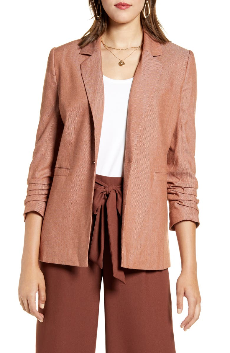 HALOGEN<SUP>®</SUP> Ruched Sleeve Blazer, Main, color, RUST SEQUOIA