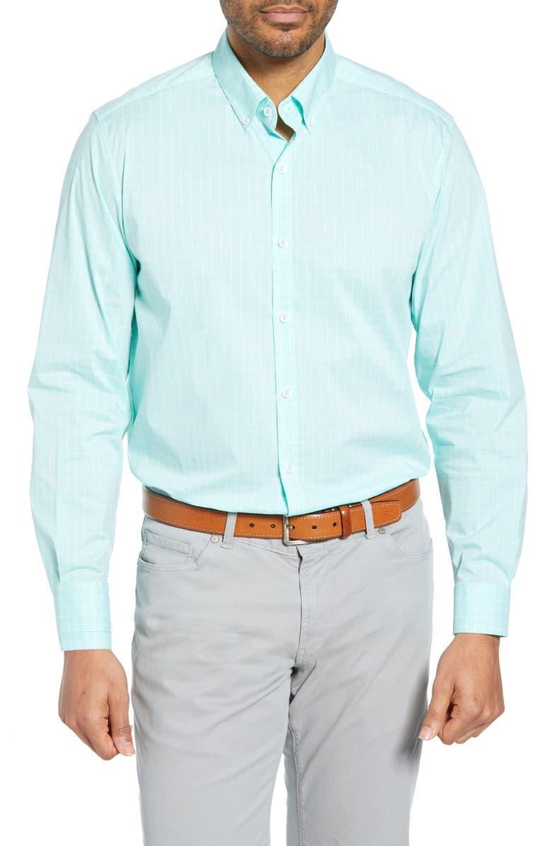 CUTTER & BUCK Soar Classic Fit Windowpane Check Sport Shirt, Main, color, 390