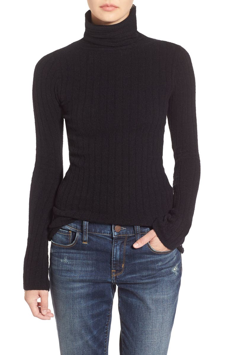 FREE PEOPLE Ribbed Turtleneck Sweater, Main, color, 001