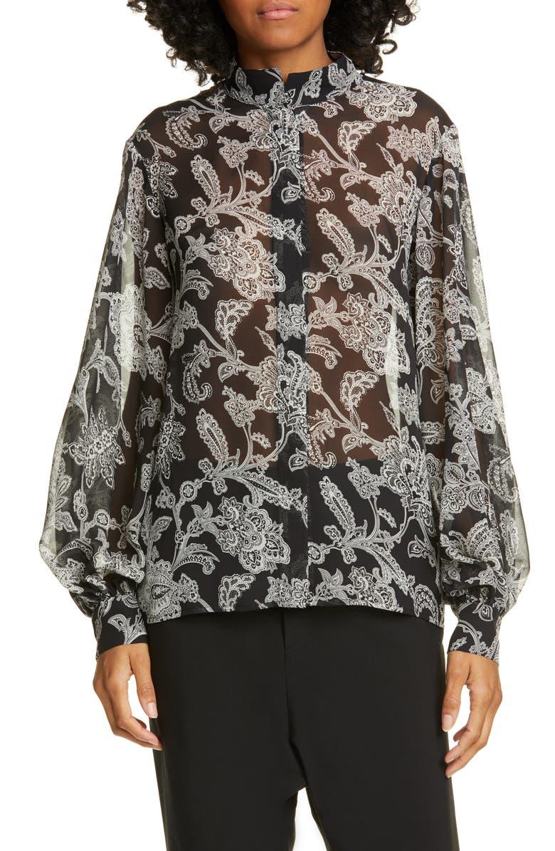 NILI LOTAN Evelyn Leopard Print Silk Blouse, Main, color, 003