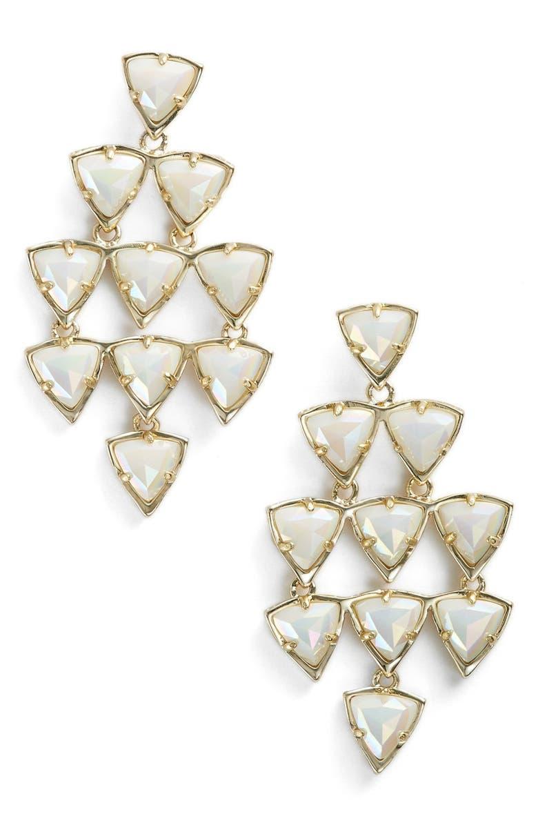 KENDRA SCOTT 'Vale' Kite Earrings, Main, color, IRIDESCENT WHITE OPAQUE GLASS