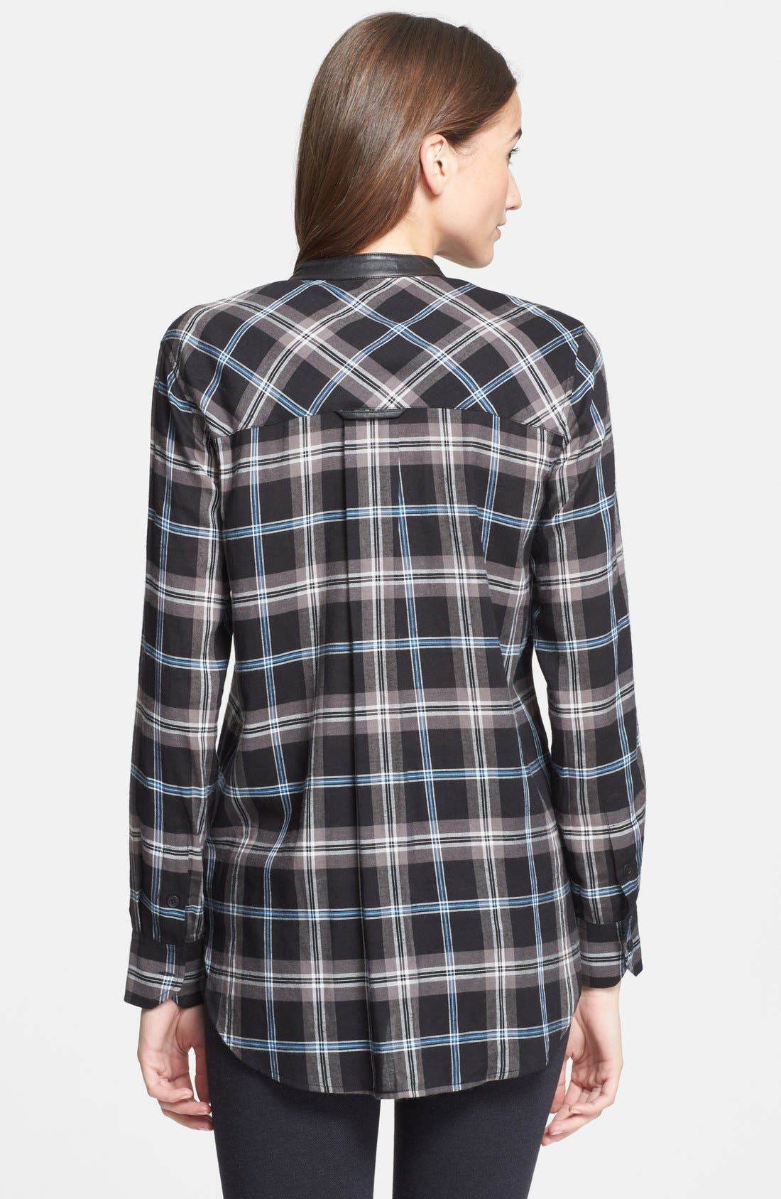 ,                             Leather Trim Plaid Long Sleeve Shirt,                             Alternate thumbnail 2, color,                             001