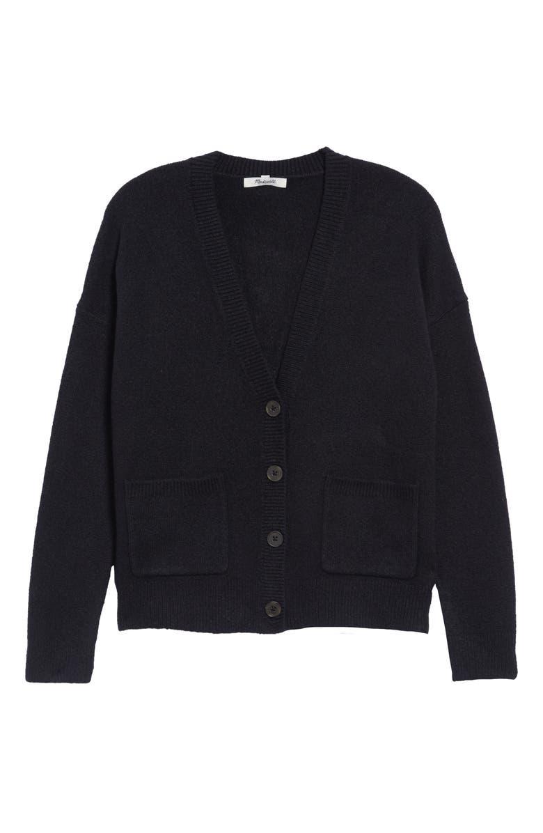 MADEWELL Arbour Cardigan Sweater, Main, color, TRUE BLACK