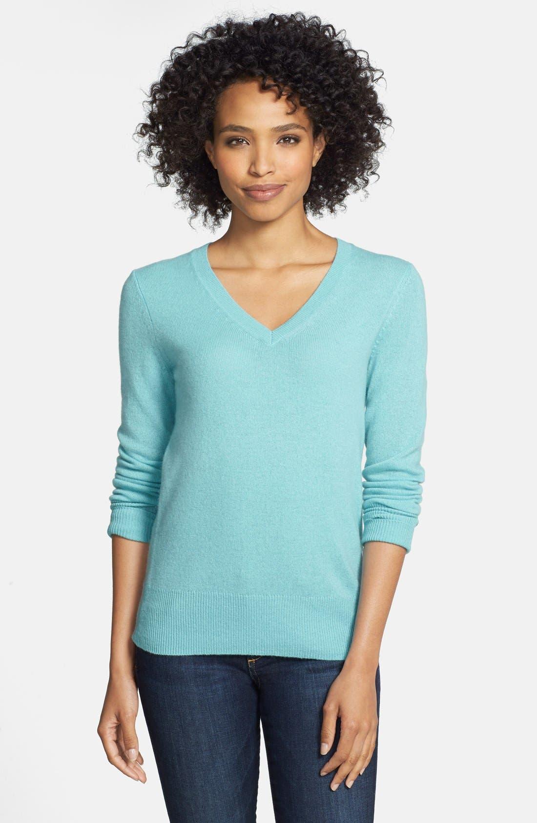 ,                             Cashmere V-Neck Sweater,                             Main thumbnail 40, color,                             421