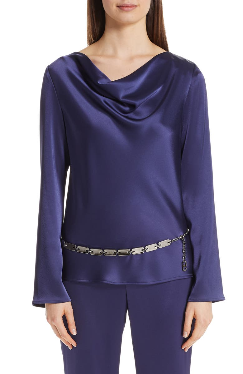 St John Collection Satin Cowl Neck Blouse