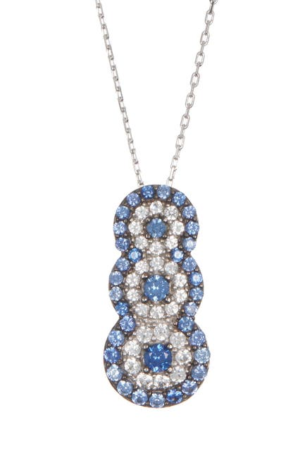Image of Suzy Levian Sterling Silver Sapphire & Diamond Accent Graduated Pendant Necklace