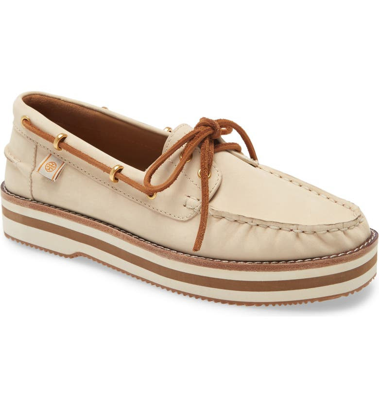 TORY BURCH Joey Platform Boat Shoe, Main, color, NEW CREAM