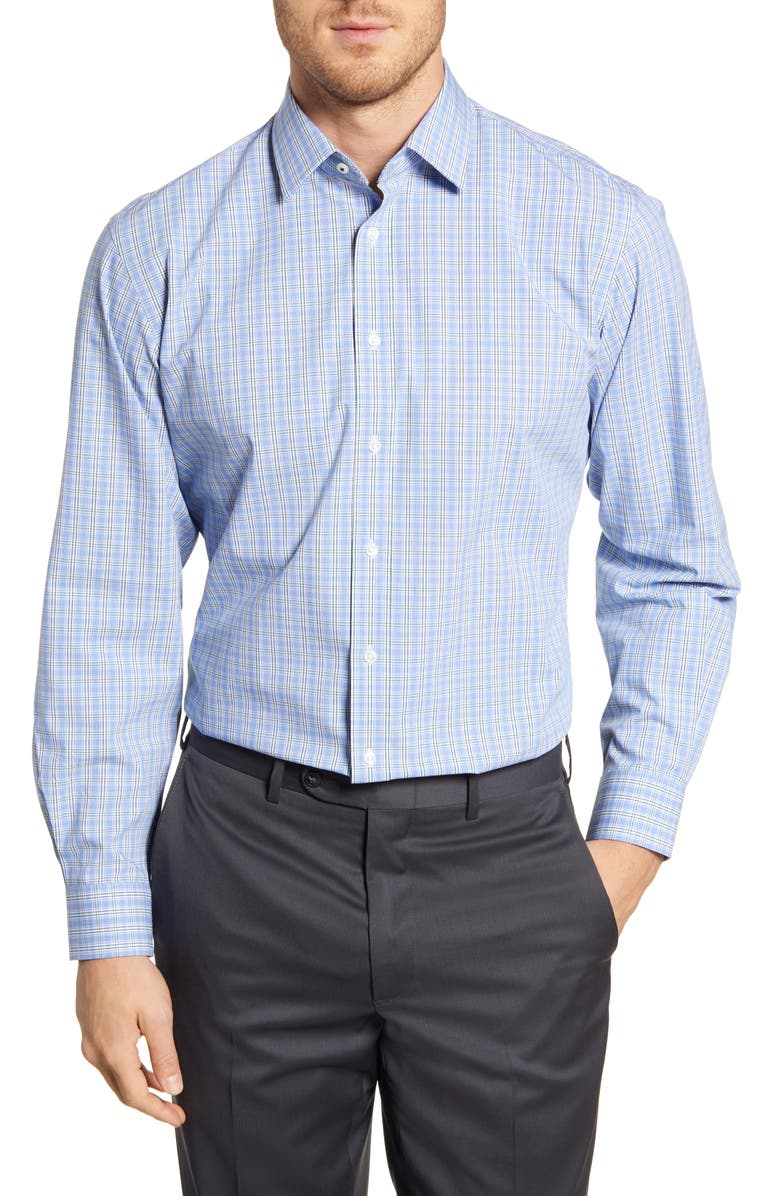 NORDSTROM MEN'S SHOP Tech Smart Traditional Fit Stretch Plaid Dress Shirt, Main, color, BLUE/ GREEN TREKKING