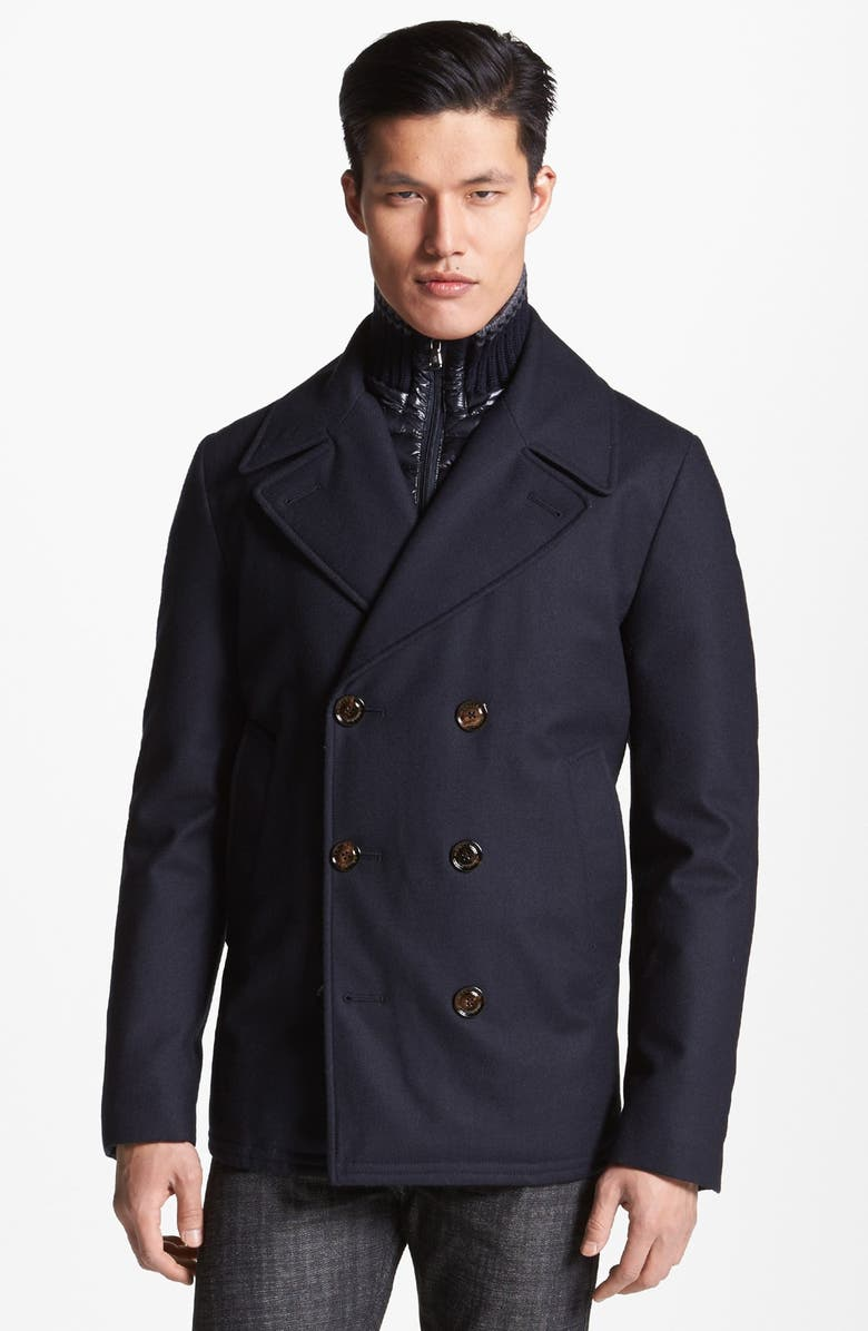 MONCLER Double Breasted Wool Peacoat with Removable Down Bib, Main, color, 419