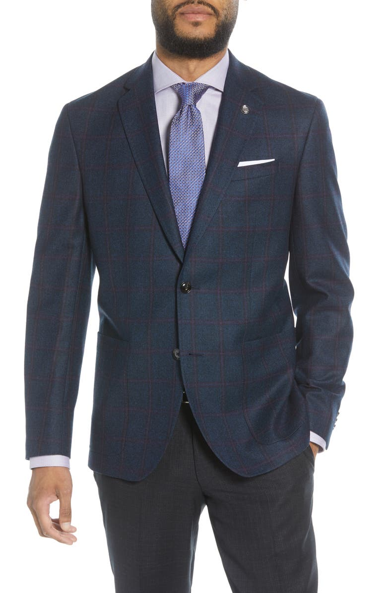 TED BAKER LONDON Kyle Trim Fit Windowpane Wool Sport Coat, Main, color, TEAL BLUE
