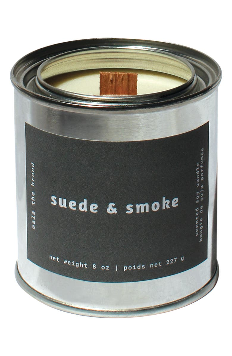 MALA THE BRAND Suede & Smoke Candle, Main, color, LIGHT/ PASTEL GREY